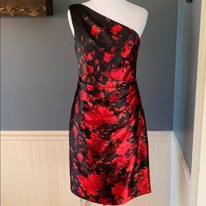 Cache Red Black Floral One Shoulder Cocktail Dress